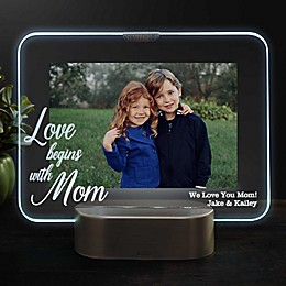 Love Begins With Mom Personalized Light Up Glass LED Picture Frame