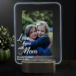 Love Begins With Mom Personalized Light Up Glass LED Vertical Picture Frame