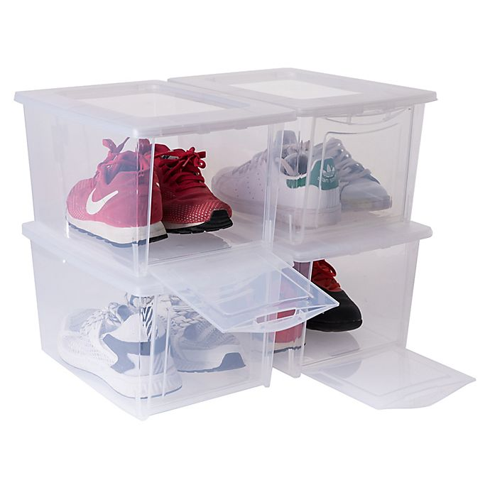 Alternate image 1 for Starplast Drop Front Storage Shoe Boxes in Clear (Set of 4)
