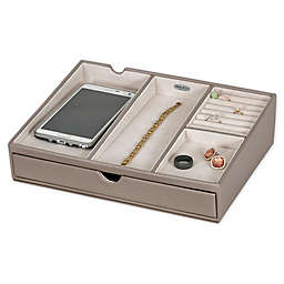 Mele & Co. Hartford Faux Leather Charging Station In Oyster/Grey