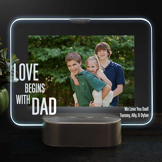 Alternate image 1 for Love Begins With Dad Personalized Light Up Glass LED Horizontal Picture Frame