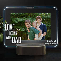 Love Begins With Dad Personalized Light Up Glass LED Picture Frame