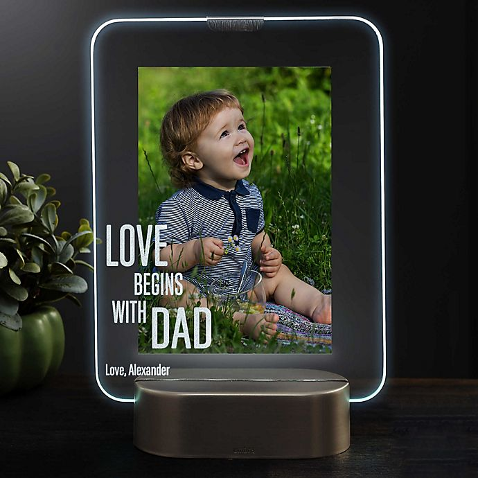 Alternate image 1 for Love Begins With Dad Personalized Light Up Glass LED Vertical Picture Frame
