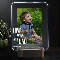 Love Begins With Dad Personalized Light Up Glass LED Vertical Picture Frame