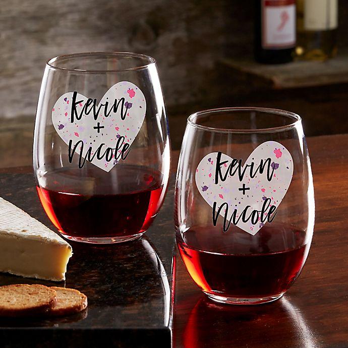 Alternate image 1 for So In Love Valentine's Day Couple Stemless Wine Glass