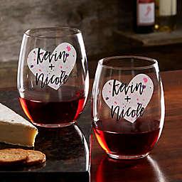 So In Love Valentine's Day Couple Stemless Wine Glass