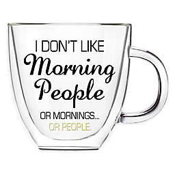 Evergreen Morning People Double Wall Glass Coffee Cup