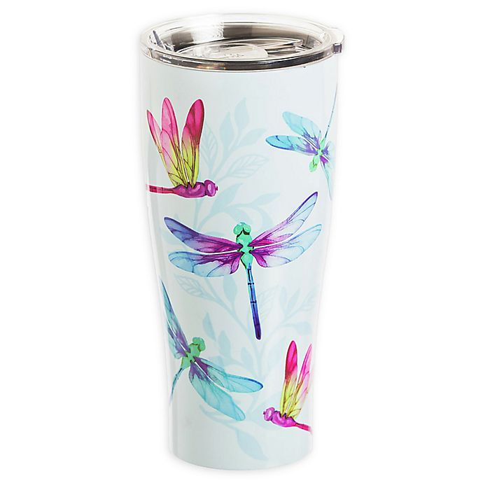 Alternate image 1 for Evergreen Dragonfly Double Wall Stainless Steel Travel Mug