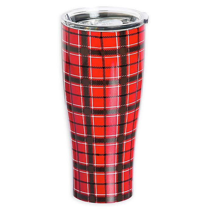 Alternate image 1 for Evergreen Red Plaid Double Wall Stainless Steel Travel Mug