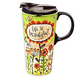 Evergreen Life Is Beautiful Ceramic Travel Cup