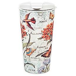 Evergreen Botanical Floral Ceramic Travel Cup