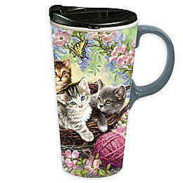 Evergreen Kittens & Flowers Ceramic Travel Cup