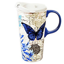 Evergreen Blue Floral Study Ceramic Travel Cup