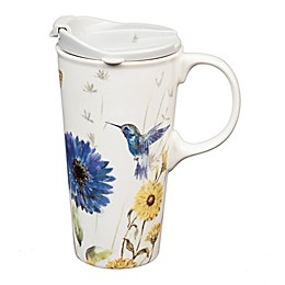 Evergreen Floral Garden Ceramic Travel Cup