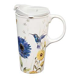 Evergreen Floral Garden Ceramic Travel Cup