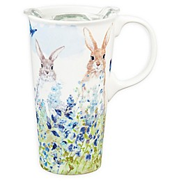 Evergreen Bunnies In Meadow Ceramic Travel Cup