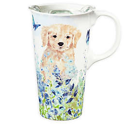Evergreen Puppies In Meadow Ceramic Travel Cup