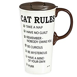 Evergreen Cats Rules Ceramic Travel Cup