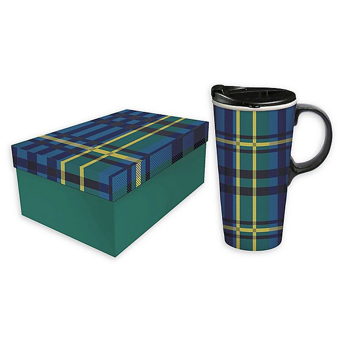 Alternate image 1 for Evergreen Plaid Blue/green Ceramic Travel Cup