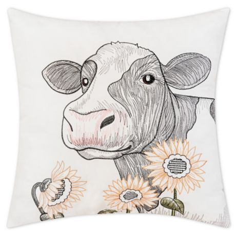 C F Home Sunflower And Cow Embroidered Square Throw Pillow In White Bed Bath Beyond