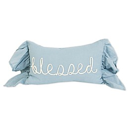 "Thro ""Blessed"" Rope Applique Throw Pillow in Egret"