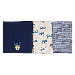 Gerber® 3-Pack Knit Animal Burp Cloths in Blue