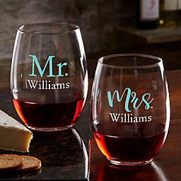 Wedding Day Personalized Stemless Wine Glass