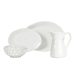 Modern Farmhouse Home Organic Bead Serveware Collection in White
