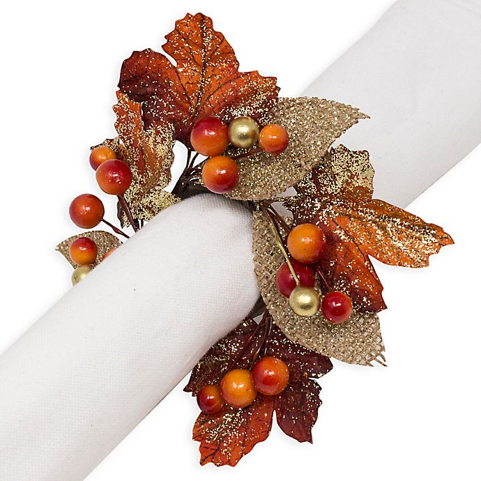 Alternate image 1 for Sparkle Foliage Harvest Napkin Rings (Set of 4)