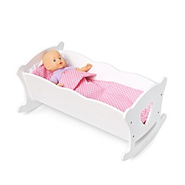 Wildkin Doll Cradle with Bedding in White