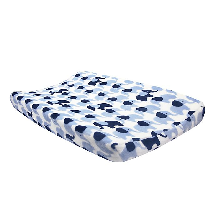 Alternate image 1 for Lambs & Ivy® Indigo Elephant Changing Pad Cover in Blue/White