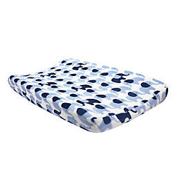 Lambs & Ivy® Indigo Elephant Changing Pad Cover in Blue/White