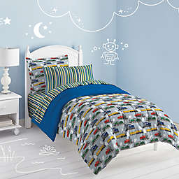 Dream Factory Trains Comforter Set in Blue