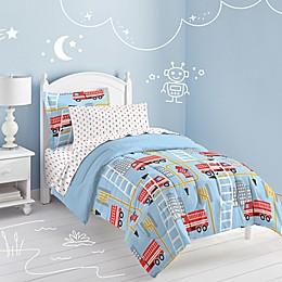 Fire Truck 5-Piece Twin Comforter Set in Blue