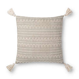 Magnolia Home By Joanna Gaines Emilia Square Throw Pillow in Light Grey/Ivory
