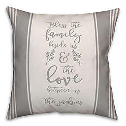 Designs Direct Family and Love Square Throw Pillow in Grey