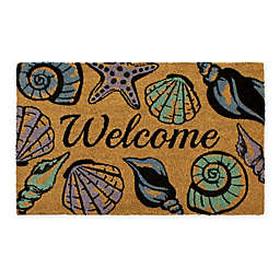 """Storm Stopper® 18"""" x 28"""" Seashell Welcome Doormat in Natural/Blue"""