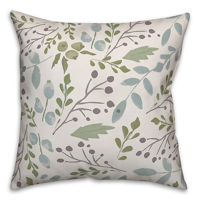 Alternate image 1 for Designs Direct Simple Cool Botanicals Square Throw Pillow in Green