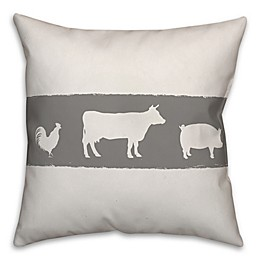 Designs Direct Farm Animals Square Throw Pillow in Grey