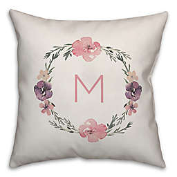 Designs Direct Fl Wreath Monogram Square Throw Pillow In Pink White