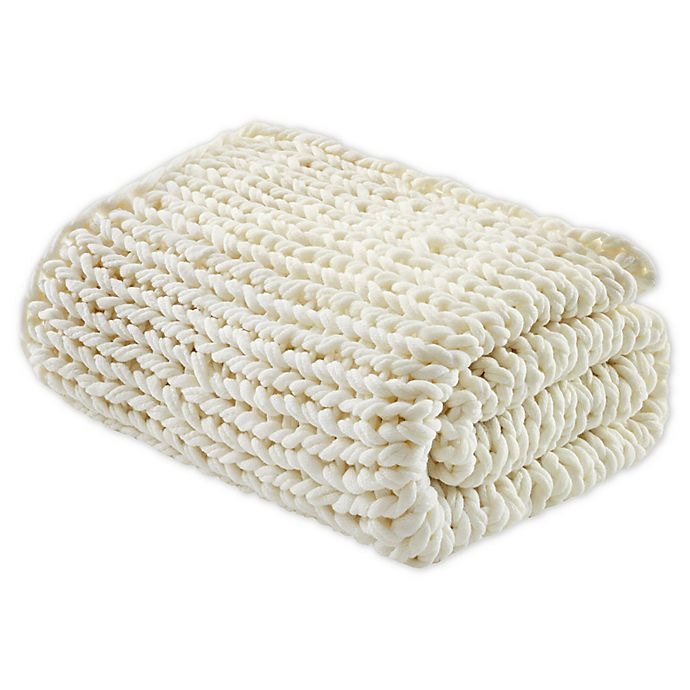 Alternate image 1 for Madison Park Chunky Double Knit Throw Blanket in Ivory
