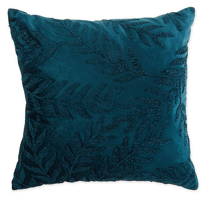 Alternate image 1 for Embroidered Velvet 20-Inch Square Throw Pillow in Teal