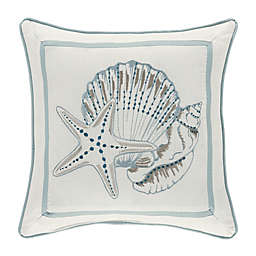 Water's Edge Shell Embroidered Square Throw Pillow in Aqua/White