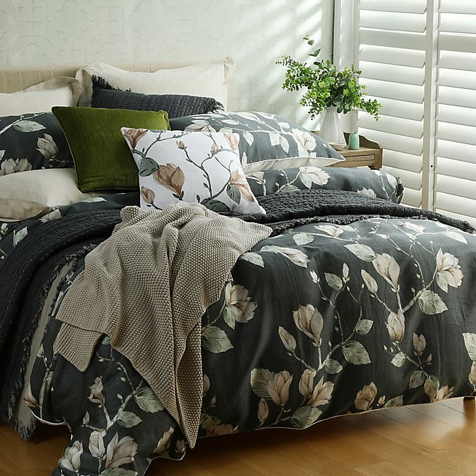 Alternate image 1 for Magnolia Full/Queen Duvet Cover Set in Charcoal