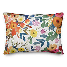 Designs Direct Wildflowers Oblong Throw Pillow in Orange