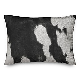 Designs Direct Cow Print Oblong Throw Pillow in Black