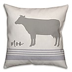 "Designs Direct ""Moo"" Cow Square Throw Pillow in Grey"