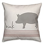 "Designs Direct ""Oink"" Pig Square Throw Pillow in Grey"