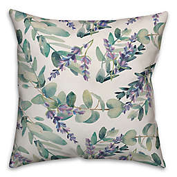 Designs Direct Purple Botanicals Square Throw Pillow in Green