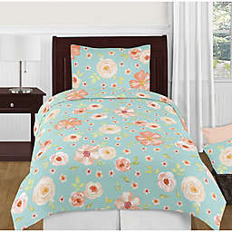 Sweet Jojo Designs Watercolor Floral Turquoise & Peach Bedding Collection